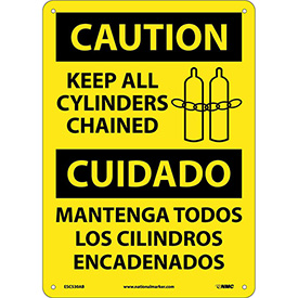 Bilingual Aluminum Sign - Caution Keep All Cylinders Chained