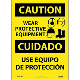 Bilingual Vinyl Sign - Caution Wear Protective Equipment