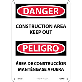 Bilingual Aluminum Sign - Danger Construction Area Keep Out