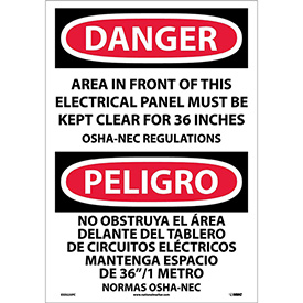 Bilingual Vinyl Sign - Danger Area In Front Of This Electrical Panel Kept Clear