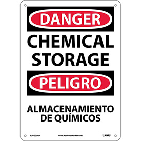 Bilingual Plastic Sign - Danger Chemical Storage