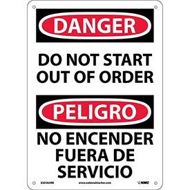 Bilingual Plastic Sign - Danger Do Not Start Out Of Order