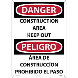 Bilingual Plastic Sign - Danger Construction Area Keep Out