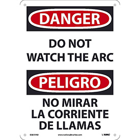 Bilingual Plastic Sign - Danger Do Not Watch The Arch