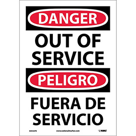 Bilingual Vinyl Sign - Danger Out Of Service