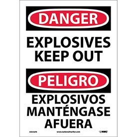 Bilingual Vinyl Sign - Danger Explosives Keep Out