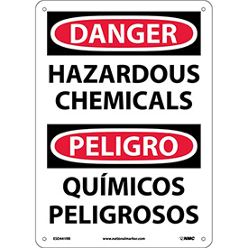 Bilingual Plastic Sign - Danger Hazardous Chemicals