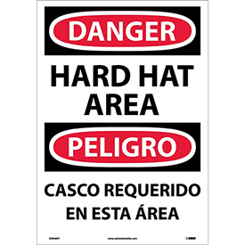 Bilingual Vinyl Sign - Danger Hard Hat Area