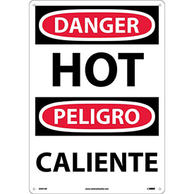 Bilingual Plastic Sign - Danger Hot