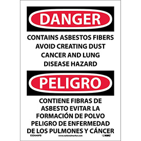 Bilingual Vinyl Sign - Danger Contains Asbestos Fibers Avoid Creating Dust