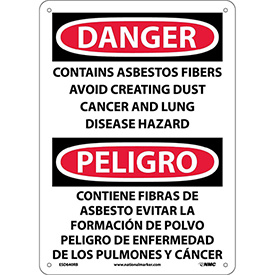 Bilingual Plastic Sign - Danger Contains Asbestos Fibers Avoid Creating Dust