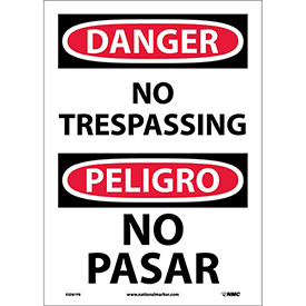 Bilingual Vinyl Sign - Danger No Trespassing