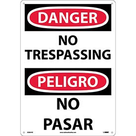 Bilingual Plastic Sign - Danger No Trespassing