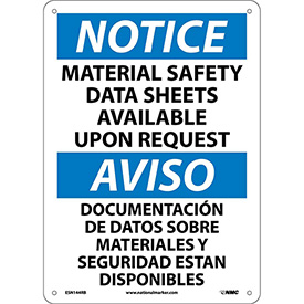 Bilingual Plastic Sign - Notice Material Safety Sheets Available Upon Request