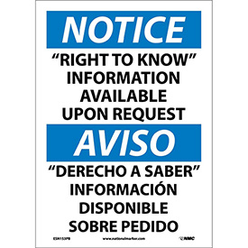 "Bilingual Vinyl Sign - Notice ""Right To Know"" Information Available Upon Request"