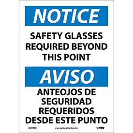 Bilingual Vinyl Sign - Notice Safety Glasses Required Beyond This Point