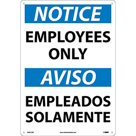 Bilingual Plastic Sign - Notice Employees Only