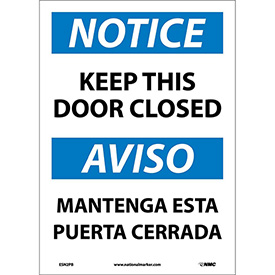 Bilingual Vinyl Sign - Notice Keep This Door Closed