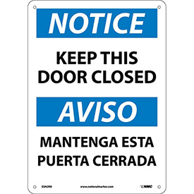Bilingual Plastic Sign - Notice Keep This Door Closed