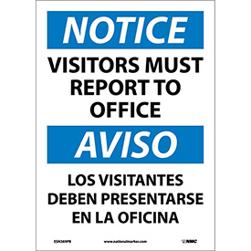 Bilingual Vinyl Sign - Notice Visitors Must Report To Office
