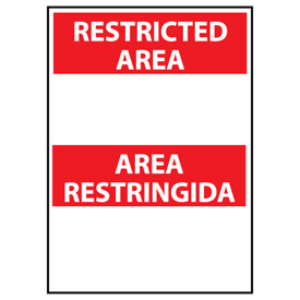 Restricted Area Aluminum - Bilingual - Area Restringida Blank with Header Only