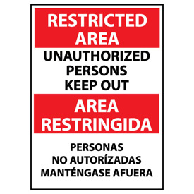 Restricted Area Aluminum - Bilingual - Unauthorized Persons Keep Out
