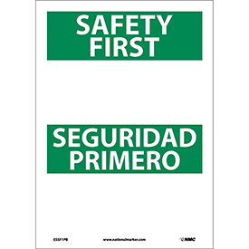 Bilingual Vinyl Sign - Safety First Blank