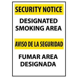 Security Notice Plastic - Designated Smoking Area