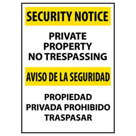 Security Notice Plastic - Private Property No Trespassing Bilingual
