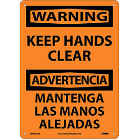 Bilingual Plastic Sign - Warning Keep Hands Clear