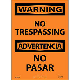 Bilingual Vinyl Sign - Warning No Trespassing