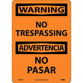 Bilingual Plastic Sign - Warning No Trespassing