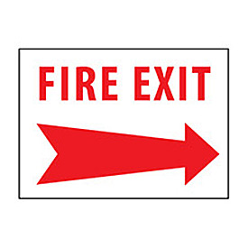 Fire Safety Sign - Fire Exit with Right Arrow - Plastic