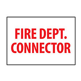 Fire Safety Sign - Fire Department Connector - Vinyl