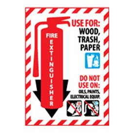 Fire Extinguisher Class Marker - Use For Wood, Trash, Paper - Vinyl