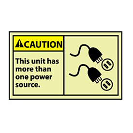 Graphic Machine Labels - Glow - Caution This Unit Has More Than One Power Source