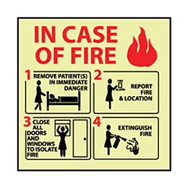 Glow Sign Rigid Plastic - In Case Of Fire