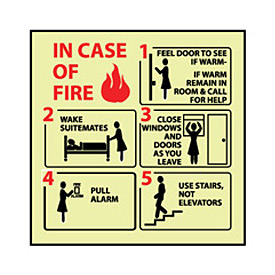 Glow Sign Rigid Plastic - In Case Of Fire Feel Door