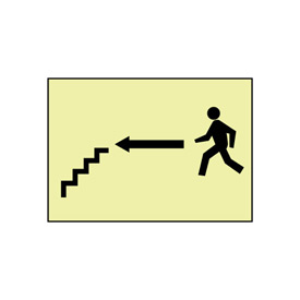 Glow Sign Rigid Plastic - Stairs Left Arrow Man
