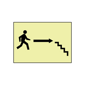 Glow Sign Vinyl - Stairs Right Arrow Man