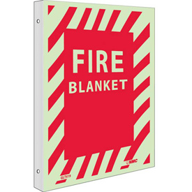 "NMC GLTV19 Fire Sign, Fire Blanket, 12"" x 9"", 6 Hour Glow Rigid Plastic"