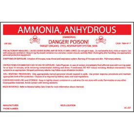 HazMat Container Labels - Ammonia, Anhydrous