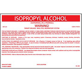 HazMat Container Labels - Isopropyl Alcohol