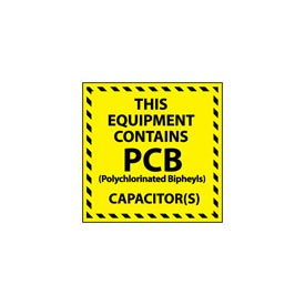 Hazardous Waste Vinyl Labels - This Equipment Contains PCB Capacitors