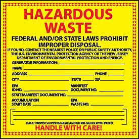 Hazardous Waste Vinyl Labels - State of New Jersey