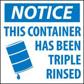Hazardous Waste Vinyl Labels - Notice This Container Has Been Triple Rinsed