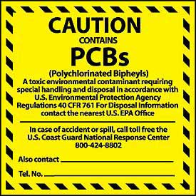 Hazardous Waste Vinyl Labels - Caution Contains PCB's