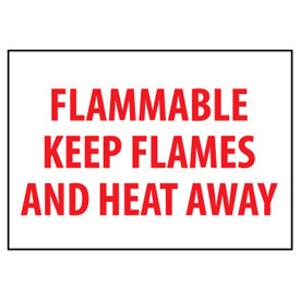 Fire Safety Sign - Flammable Keep Flames And Heat Away - Plastic