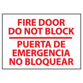 Bilingual Fire Sign - Fire Door Do Not Block Puerta De Emergencia No Bloquear