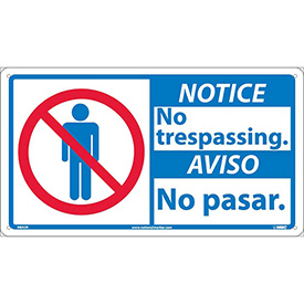 Bilingual Plastic Sign - Notice No Trespassing